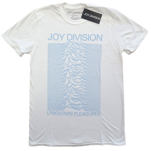 Joy Division - Unknown Pleasures Blue on White Unisex Medium T-Shirt - White