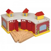 Wooden Railway Big Train Round House With 5 Way Track