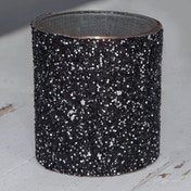 Set of 2 Candle Holders - Black & Silver Glitter