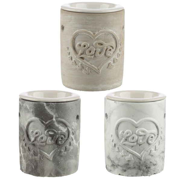 Love Heart Concrete Oil Burner (1 Random Supplied)
