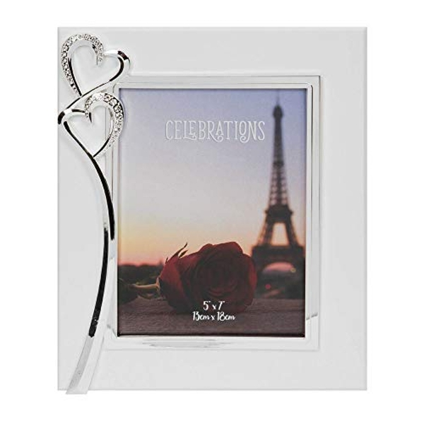 """5"""" x 7"""" - Silver Plated & Crystal Double Heart Photo Frame"""