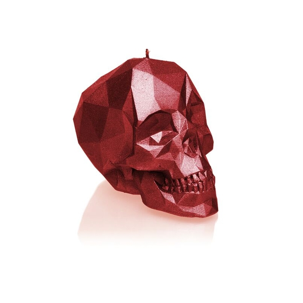 Red Metallic Small Low Poly Skull