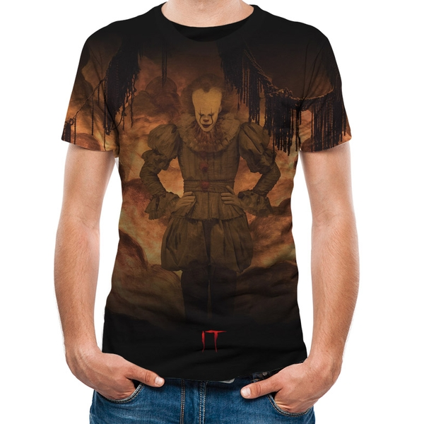 It - Flames Sublimated Men's X-Large T-Shirt Black