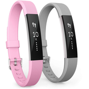 Yousave Blush Pink/Grey Activity Tracker Strap - Large (2 Pack)