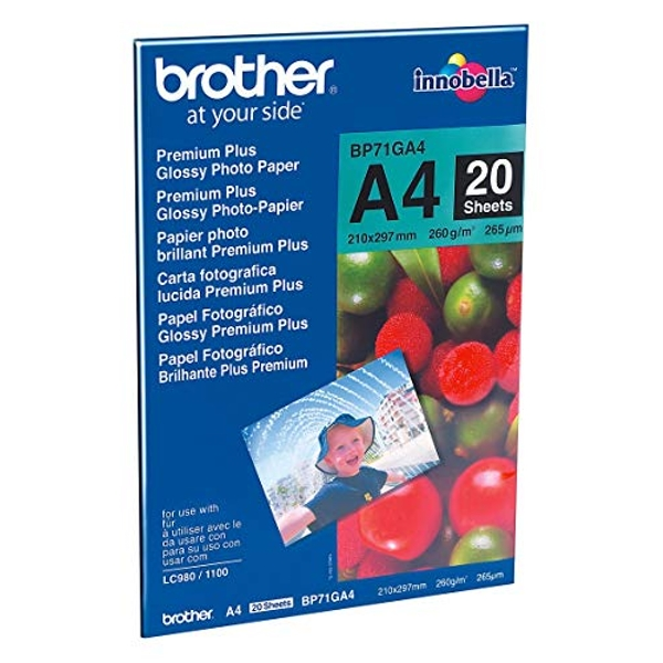 Brother BP71GA4 Photo Paper, A4, Premium Plus Glossy, 297mm (W) x 210mm (L), 20 Sheets, Brother Genuine Supplies