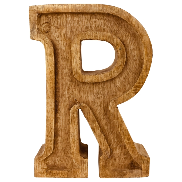 Letter R Hand Carved Wooden Embossed