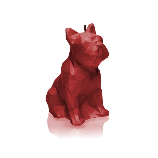 Red Low Poly Bulldog Candle
