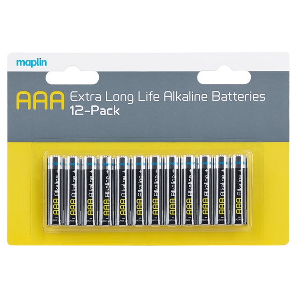 Maplin Extra Long Life High Performance Alkaline AAA 1.5V Batteries 12 Pack