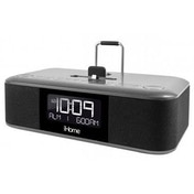 iHome iDL100G Triple Charging Stereo FM Clock Radio - Black/Silver UK Plug