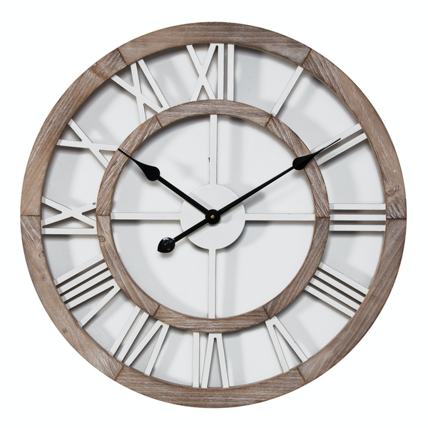 Hometime Shabby Chic Round Wall Clock Cut Out Dial | 60cm