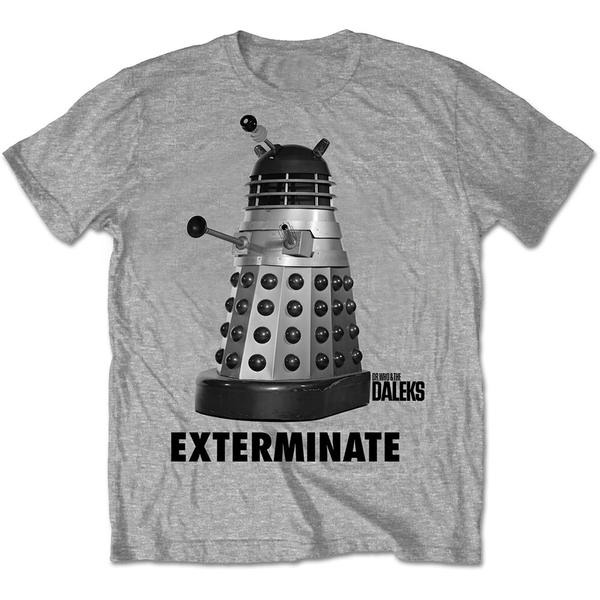 StudioCanal - Doctor Who Exterminate Unisex Small T-Shirt - Grey