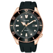 Pulsar PG8312X1 Mens Sports Silcone Strap Rose Gold Case Divers Inpsired Case 100M Watch