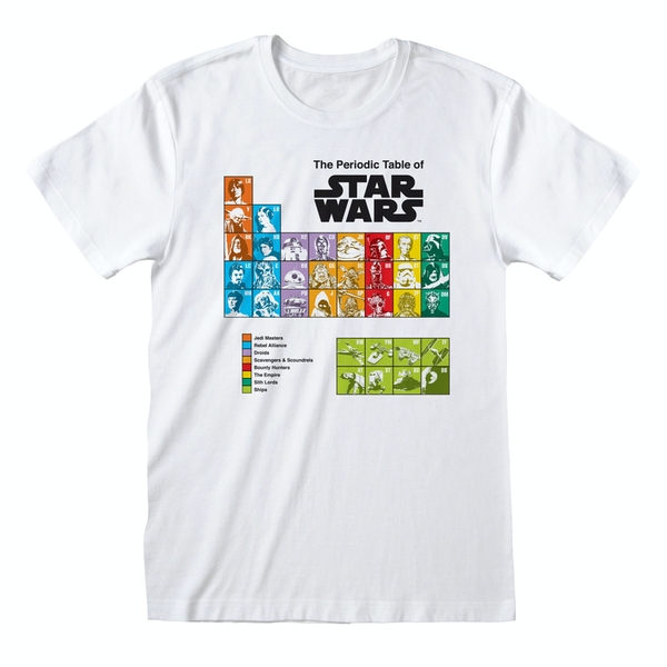 Star Wars - Periodic Table Unisex Large T-Shirt - White