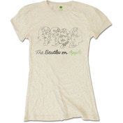 The Beatles - Outline Faces on Apple Women's Large T-Shirt - Sand