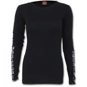 Gothic Rock Buckle Cuff Women's Medium Long Sleeve Top - Black