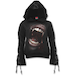 Goth Fangs Women's Large Black Ribbon Gothic Hoodie - Black - Image 2