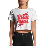 David Bowie - Rebel Rebel Women's X-Large Crop Top - White
