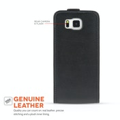 YouSave Accessories Samsung Galaxy Alpha Real Leather Flip - Black