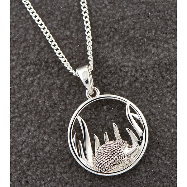 Country Hedgehog Round Silver Plated Necklace