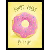 Donut - Worry Be Happy Framed 30 x 40cm Print