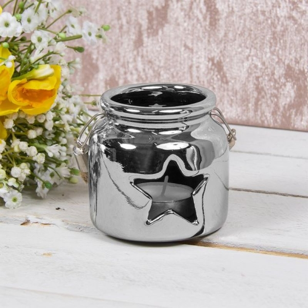 Star Ceramic Candle Holder Silver 8cm By Lesser & Pavey