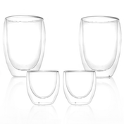 Double Walled Insulated Tea & Coffee Glasses | M&W Set of 2 - 80ml