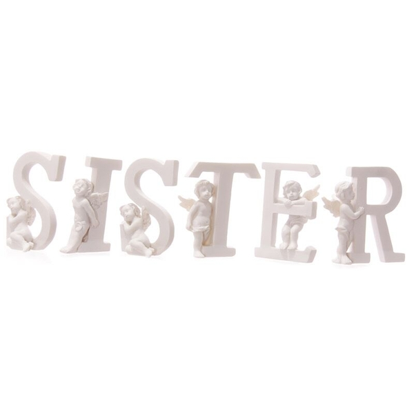 Cute Cherub SISTER Letters Ornament