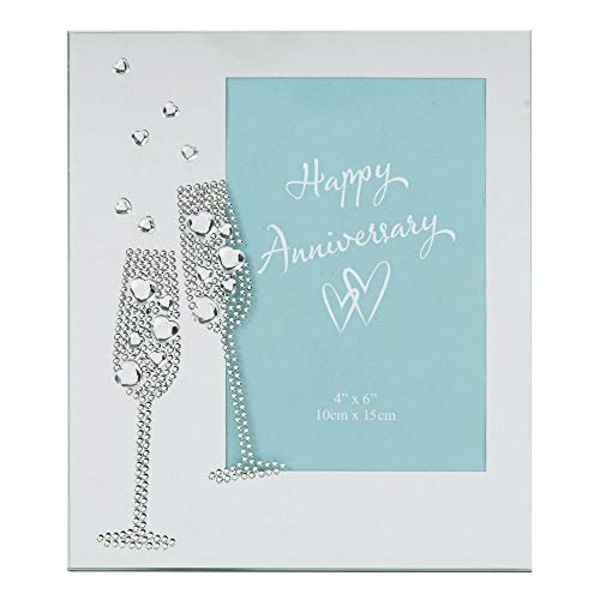 """4"""" x 6"""" - Celebrations Mirror Frame Flute with Crystals"""