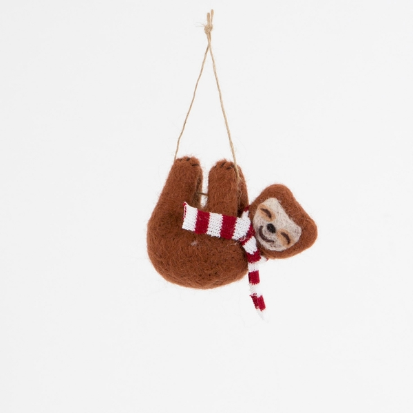Sass & Belle Swinging Sloth With Scarf Hanging Decoration
