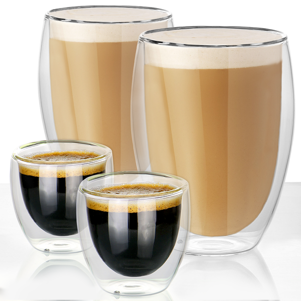 Double Walled Insulated Tea & Coffee Glasses | M&W Set of 4 - 80ml & 350ml