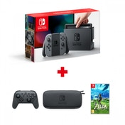 Nintendo Switch Console with Grey Joy-Con + Accessory Set + Pro Controller +Zelda Breath Of The Wild