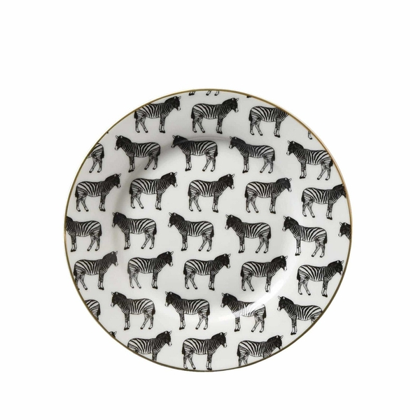 Animal Luxe Side Plate All Over Zebra Print Black with Gold Rim 19.2cm