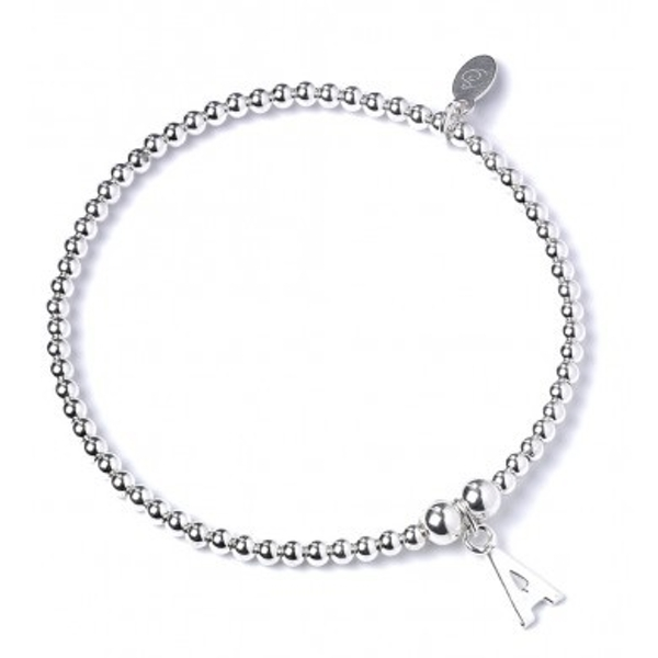 Initial A Charm with Sterling Silver Ball Bead Bracelet