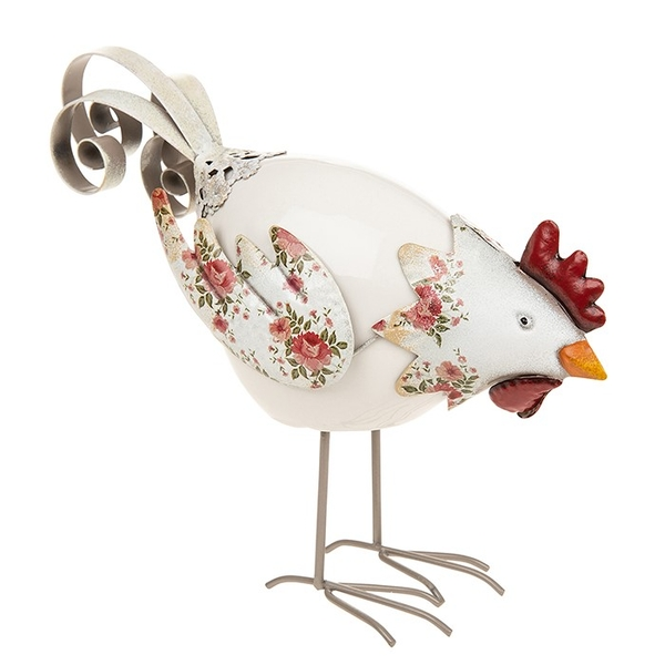 Country Rose Pecking Chicken Ornament