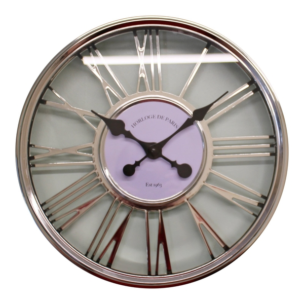 Large Silver Wall Clock 45cm