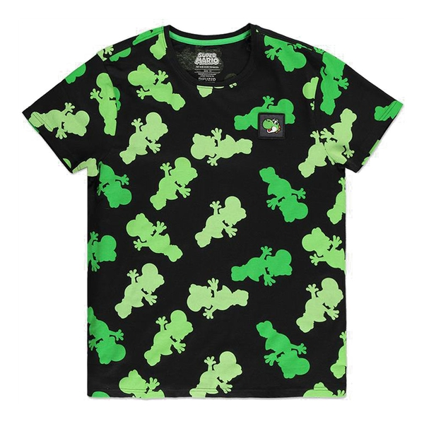 Nintendo - Super Mario Bros. Yoshi Colour Silhouette All-Over Print Men's Large T-Shirt (Green/Black)