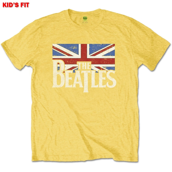 The Beatles - Logo & Vintage Flag Kids 11 - 12 Years T-Shirt - Yellow