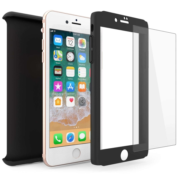 Compare prices with Phone Retailers Comaprison to buy a Apple iPhone 8 PC Hybrid 360 Case with Tempered Glass Screen Protector - Black