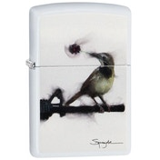 Zippo Spazuk Bird Bullet Hole White Matte Windproof Lighter