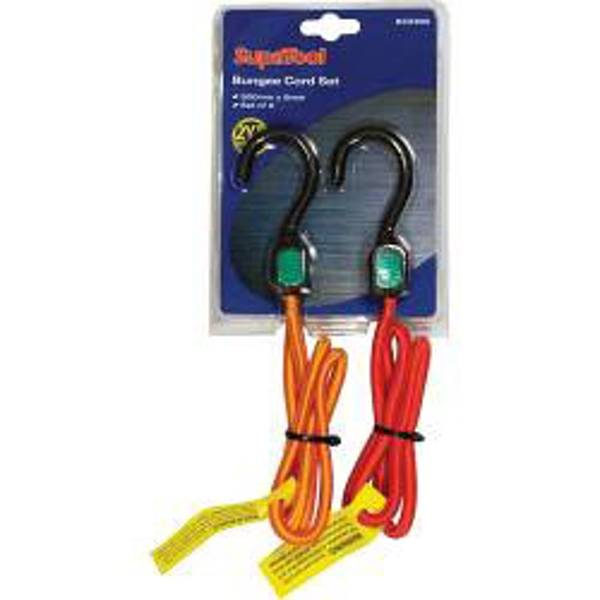 SupaTool Bungee Cord Set with Plastic Hooks 900mm x 8mm