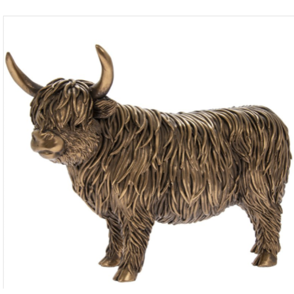 Reflections Bronzed Highland Cow Figurine By Lesser & Pavey