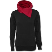 Urban Fashion Shawl Neck Red Hood Kangaroo Women's Small Top - Black