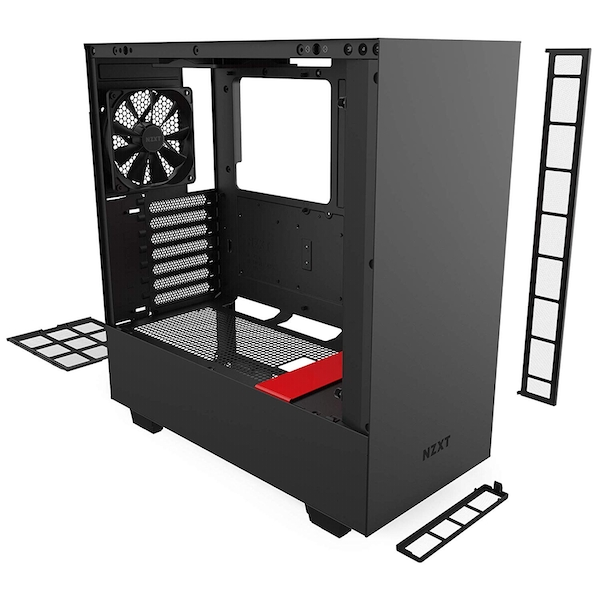 NZXT H510 Midi Tower Gaming Case - Black/Red Tempered Glass