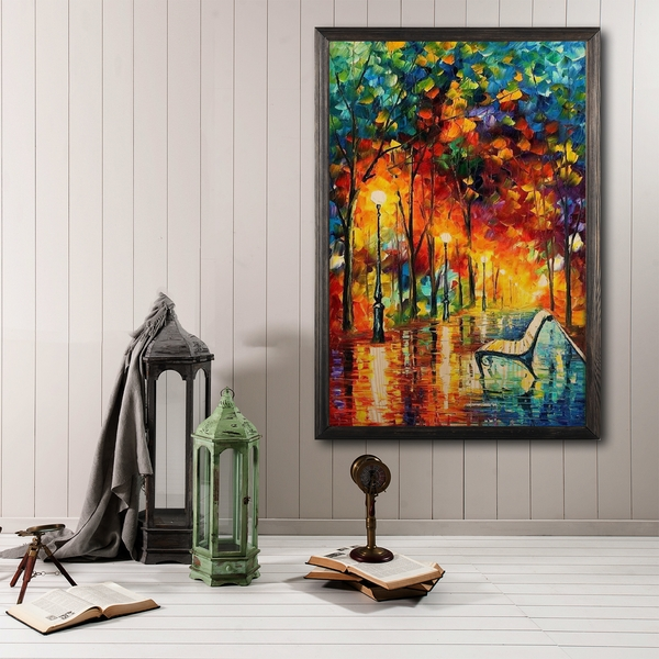 Fall Even?ng Multicolor Decorative Framed Wooden Painting