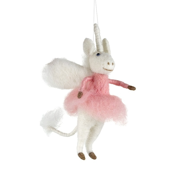 Fabric Unicorn Wool Decoration by Heaven Sends
