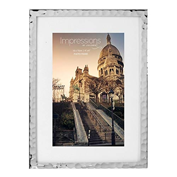 """4"""" x 6"""" - Impressions Hammered Silver Plated Frame"""