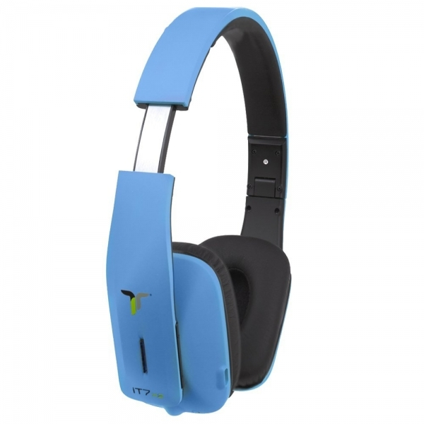 iT7x2 Foldable Wireless Bluetooth Headphones with Near Field Communication NFC Blue - Image 2