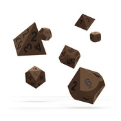 Oakie Doakie Dice RPG Set (Metal Brasstige)