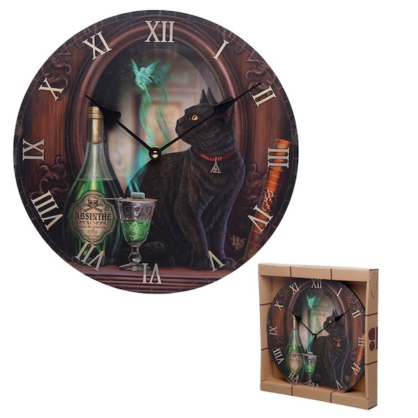 Black Cat Absinthe Lisa Parker Wall Clock