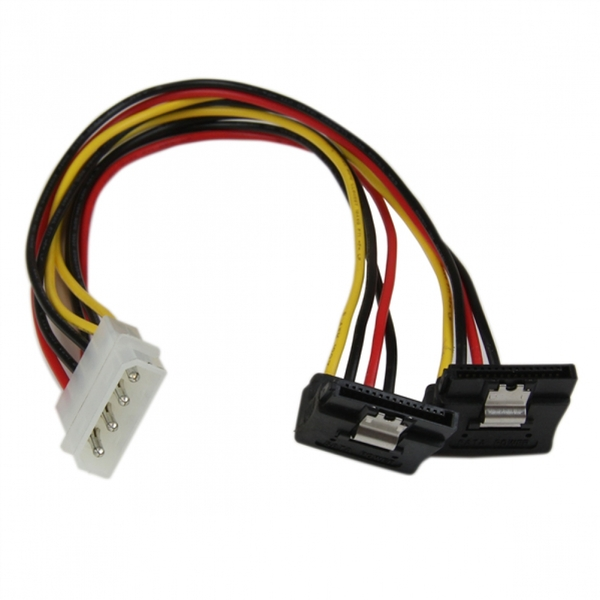 StarTech 12 inch LP4 to 2x Right Angle Latching SATA Power Y Cable Splitter